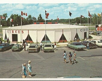 1970s Chrome Postcard Roadside View Of Circus Mexicshopping Arcade South Of The Border