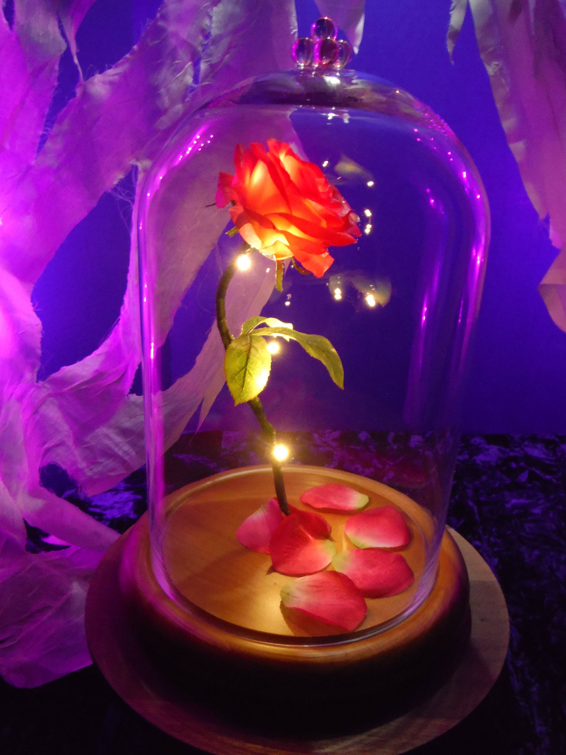 beauty and the beast enchanted rose halloween prop forever