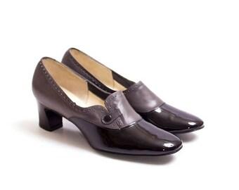 25% de descuento en venta de 1960 Vintage gris y cuero negro bombas, arrojadas Retro 60s patente Mod mujeres espectador zapatos Naturalizer 6.5N del dedo del pie