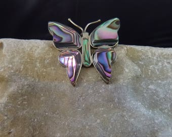 Abalone and Alpaca Mexican Silver Butterfly Vintage Brooch Made in Mexico Pin