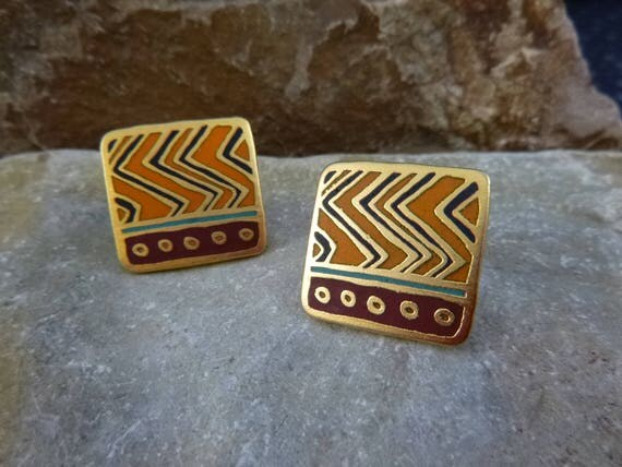 "Vintage Laurel Burch ""Raindance"" Earrings 