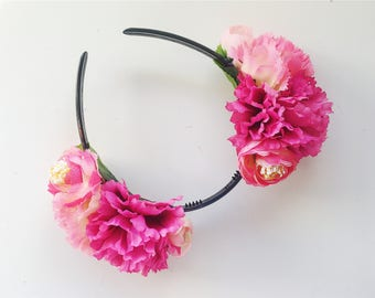 Pink 'AYAKA' Dahlia and Rose floral headband/headpiece