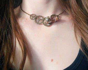 Steampunk vial necklace mini terrarium