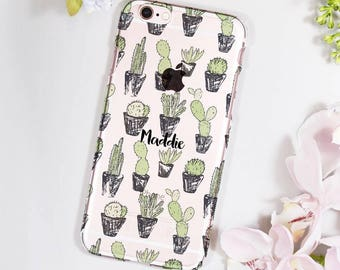 Cacti iPhone Case - Personalised iPhone Case For Her - Birthday Gift for her - Succulent iPhone case - Clear  iPhone case
