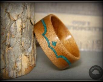 Bentwood Ring - Honduran Mahagony Wood Ring with Chrysocolla Inlay