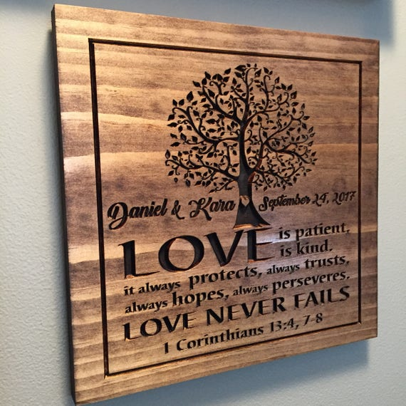 5th Anniversary Gift Personalized Wooden Sign Carved Plaque