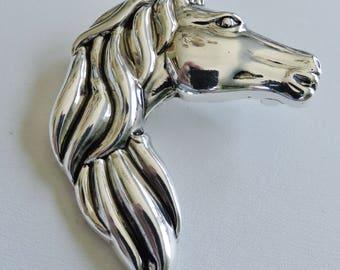 Shiny Silver Metal Horse Head Brooch Pendant Combo