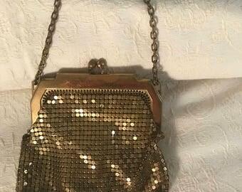 Vintage Whiting & Davis Gold Mesh Beaded Purse, circa 1920's, Vintage Small Beaded Evening Handbag, Vintage Wedding Handbag Purse