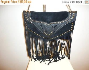 50% OFF Must See Black Suede and Leather Crossbody/Shoulder Bag