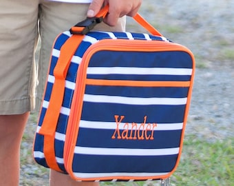 Monogrammed Lunchbag-Personalized Lunchbox-Striped Lunchbag-Striped Lunchbox-Boys Lunchbag-Boys Lunchbox-White and Navy Stripes-Boys Striped