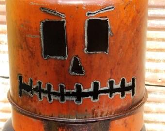 Vintage Gas Can Pumpkin Jack O Lantern Light,gift,fall,rustic home decor,metal oil,decoration,creative,repurposed halloween,rustic,unique