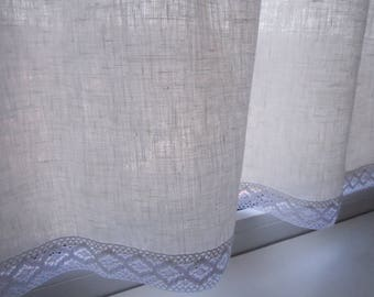 White lace valance - Kitchen curtain - Kitchen cafe curtain - Lace valance - French kitchen window curtain - Shabby Chic Valance