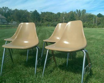 Set of 4~ Mid Century Fiberglass Shell Stackable Side Chairs