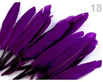 18 - 9-14 cm purple duck feathers