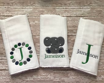Set of 3 Monogrammed Personalized Embroidered Burp Cloths for boy, navy grey green combo