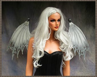 Adult Fairy Bat Wings **RTS**White/Gray/Silver**FREE SHIPPING**Costume/Cosplay/Masquerade/Photography/Gothic/Halloween