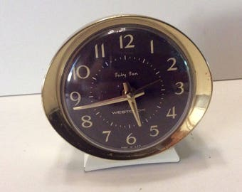 Vintage 1960s Westclox Baby Ben travel alarm clock. Free ship to US