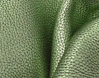 "Metallic Rustic Green Aura Leather Cow Hide 4"" x 6"" Pre-cut 4-5 oz large grain DE-66243 (Sec. 3,Shelf 5,B,Box 4)"