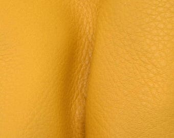 "NZ Deer Sale Mac n Cheese  Yellow Leather New Zealand Deer Hide 12"" x 12"" Pre-cut 3-4 ounces-32 DE-66175 (Sec. 5,Shelf 7,B)"
