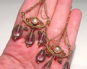 Vintage Studio 14K GF Rose de France Amethyst and Pearl GIRANDOLE Chandelier Earrings