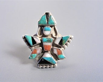 Vintage Native American Sterling Inlay Knifewing Ring Size 6.75