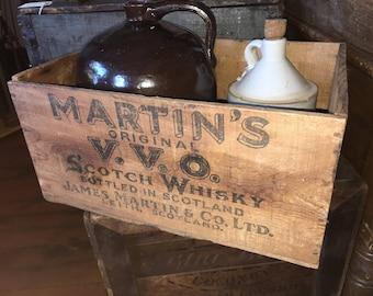 Vintage Martin's Original V.V.O. Scotch Whisky Wood Crate Box, Scotland, Great Shape