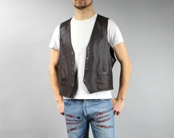 XL Brown Genuine Leather Motorcycle Crop Men's Vest, 90s Vintage Biker's Stud down Steampunk Waistcoat Formal Leather Gilet, Trachten Vest