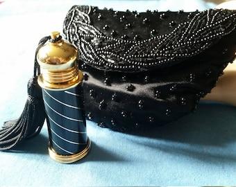Vintage Irice Gold Tone Enamel Perfume Bottle With Tassel/Bag