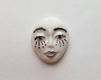 """Black and White Polymer Clay Cabochon,OOAK,Flat back bead,1 1/8"""" by 7/8"""",supply,white pearl,focal,no hole,art doll,jewelry"""