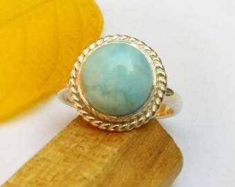 Larimar Ring, Boho Rings, Sterling Silver Larimar Ring, Dominican Republic Stone, Sky Blue Caribbean larimar Natural Stone Ring blue larimar