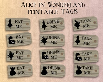 alice in wonderland tags template - alice in wonderland tickets printable instant download alice