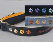 Jeans Re-purposed into Denim Dog Collar Embroidered with Paws Custom Made for your Puppy, Small or Large Dog as Buckle or Martingale Collar