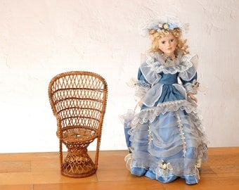 "22"" Porcelain Doll, Doll Chair, Victorian Doll, Retro Doll, Ceramic Doll, Doll House Chair, Porcelain Doll, Old Doll, Doll and Chair, Doll"