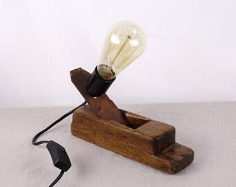 Rustic Desk Lamp, Wooden Table Lamp, Edison Lighting, Rustic Lighting, Steampunk Lighting, Bedside Lamp, Bedside Lighting, Carpenter Gift