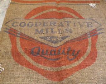 Burlap Sack, Cooperative Mills Feed Sack, Vintage Farm and Barn Stock