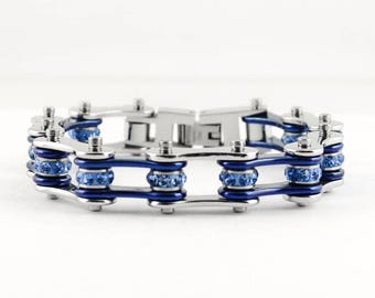 Women's Ladies Motorcycle Stainless Steel Crystal Blue Bike Chain Bracelet