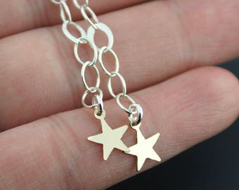 Sterling Silver Gold Vermeil Star Earrings