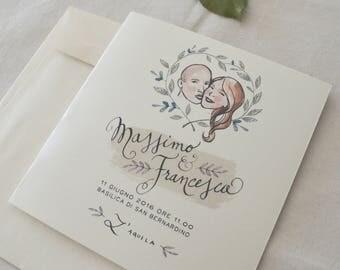 Partecipazione e mappa personalizzata illustrata per matrimonio
