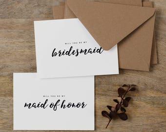 7 x Will You be My Bridesmaid Card, Bridesmaid Proposal, Maid of Honor Card, Will You Be My Maid of Honor, Bridesmaid Card, Bridal Cards, K8