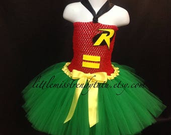READY TO SHIP Robin Tutu Dress, Robin Costume, Super Hero Costume, Super Hero Tutu Dress, Super Hero Dress, Robin Dress, Robin Tutu Costume