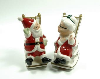 Vintage Lefton's Holiday Porcelain Salt and Pepper Shakers Mr and Mrs Santa Claus