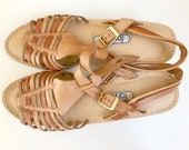 Huarache Sage, Tan and Nude Strappy Vintage Sandals