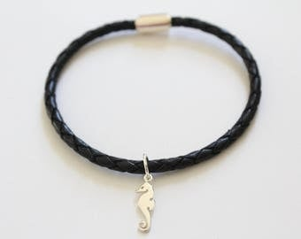 Leather Bracelet with Sterling Silver Seahorse Charm, Seahorse Charm Bracelet, Seahorse Bracelet, Silver Seahorse Bracelet, Seahorse Pendant