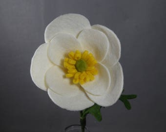 Fake Flower - White Poppy, Artificial Flower, Felt Flower, Felt Poppy, Artificial Poppy, Fake Poppy, Stem Flower, Flower Arrangement, Floral