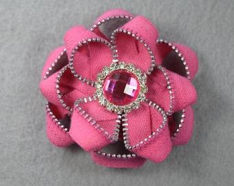 Zipper Flower Brooch - Pink Flower Pin, Upcycled, Recycled, Repurposed, Zipper Jewelry, Zipper Pin, Zipper Brooch, Zipper Art