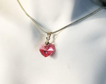 """Pink Swarovski heart pendant necklace silver plated 16"""" chain, gift for her. Birthday gift. Valentines gift."""