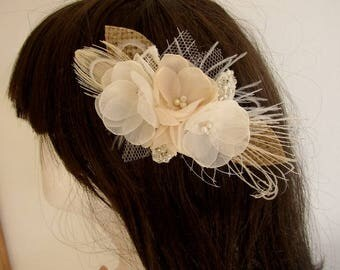Rustic Hair Comb, Wedding Hair Piece, Wedding Hair Accessories, Bridal Headpiece, Burlap Lace Flower, Champagne Hair Comb, Fall Wedding