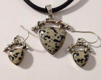 Dalmation Jasper 925 Sterling Necklace & Pierced Earrings Set gw15-377