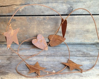 Rusty Tin Heart/Star Garland. Rusty Tin Garland. Rusty Star Garland. Rusty Heart Garland. Rusty Metal Garland. Primitive Heart/Star Garland.