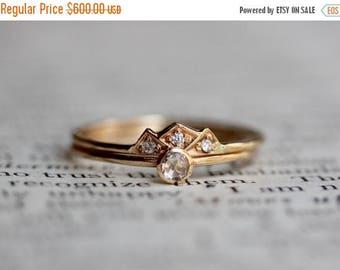 ON SALE 14k Crown Engagement Wedding Ring Set, Dainty Engagment Ring, Rose Cut Diamond, Mountain Ring, Diamond Ring, Crown Ring, Stacking Ri